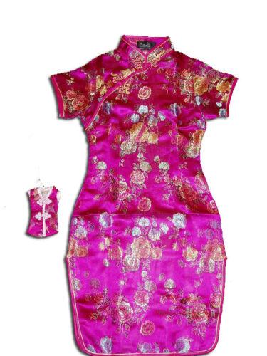 Girls Flower Oriental Chinese Dress Qipao Cheongsam with Purse 9M to 14 Years