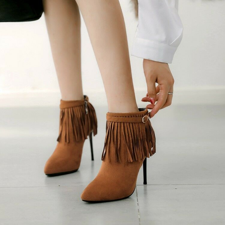 Women Tassel High Stilettos Heel Ankle Boots Suede Pointy Toe Buckle Winter Shoe