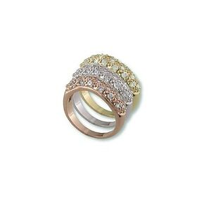 Pave Clear 5a Cz Tri Color Rhodium Rose Gold Dome Eternity
