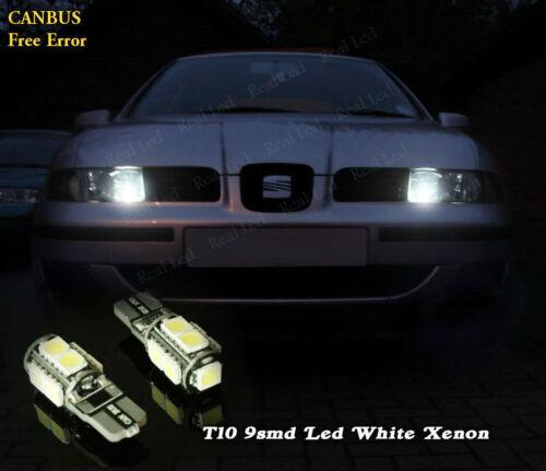 2x T10 9SMD LED SIDELIGHTS WHITE XENON FREE ERROR SEAT LEON MK1 1M 1999-2006