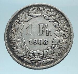 1903-SWITZERLAND-HELVETIA-Symbolizes-SWISS-Nation-SILVER-1-Franc-Coin-i78291