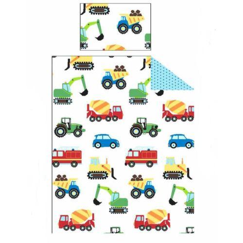 2 en 1 design Camions /& Transport Junior Lit Bébé Housse de couette Fire Engine