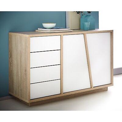 Aparador bufe color roble y blanco de salon comedor moderno economico 123x75cm