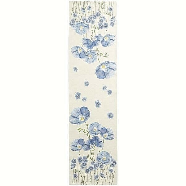 Tissé French Tapestry Table Runner, champ de fleurs, 71  X 19  importés, nouveau