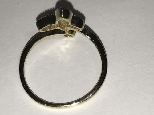 GOLD 14k butterfly ring simulated Diamond 7 5 6 7 8 9 1.9g