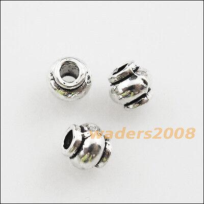 80 New Charms Tibetan Silver Tone Pumpkin Tube Spacer Beads 4mm