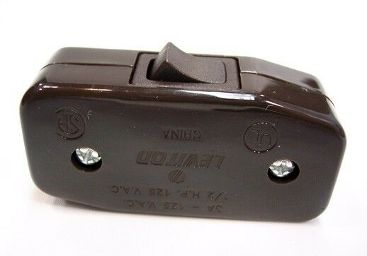 Cord Switch BROWN - UL Listed - Leviton Brand - Inline Cord Switch - Lamp Switch