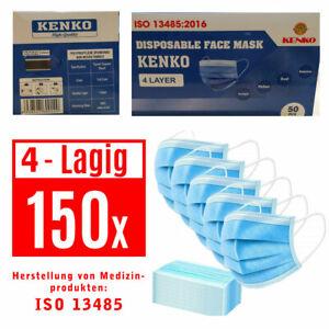 150-Stueck-ISO-NORM-Schutz-Masken-Mundschutz-Masken-4-Lagig-Einwegmaske-OP-Maske