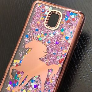 huge discount b9be7 c1059 Details about Samsung Galaxy J3 Star / J3 2018 Waterfall Liquid Glitter  Case Rose Gold Unicorn