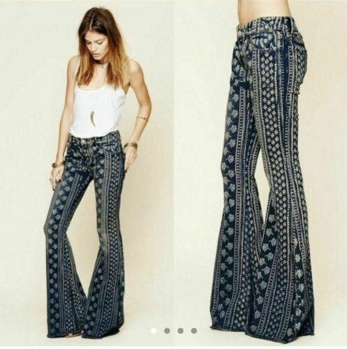Free People Boho Bali Festival Flare Denim Jeans 2