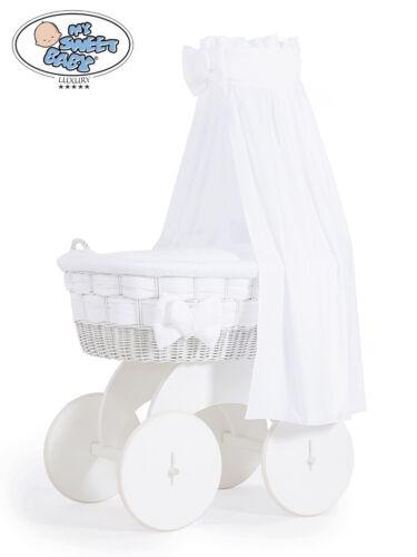My Sweet Baby Luxus Stubenwagen Bollerwagen Herzchen XXL Weiß mit Moskitonetz