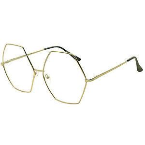a975e5b40bc XXL OVERSIZED VINTAGE RETRO Style Clear Lens EYE GLASSES Huge Gold ...