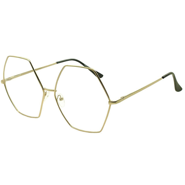 7e87279def6e XXL OVERSIZED VINTAGE RETRO Style Clear Lens EYE GLASSES Huge Gold Hexagon  Frame