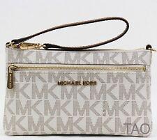 890ab3405383 Michael Kors Jet Set Travel Signature Top Zip Wristlet Bag Pouch PVC Vanilla  New