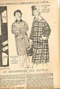 """Patron de Couture """"Femmes d'aujourd'hui"""" N°904 Manteau velours ou Tweed T 44 gmQXFDsL-09092453-846727218"""