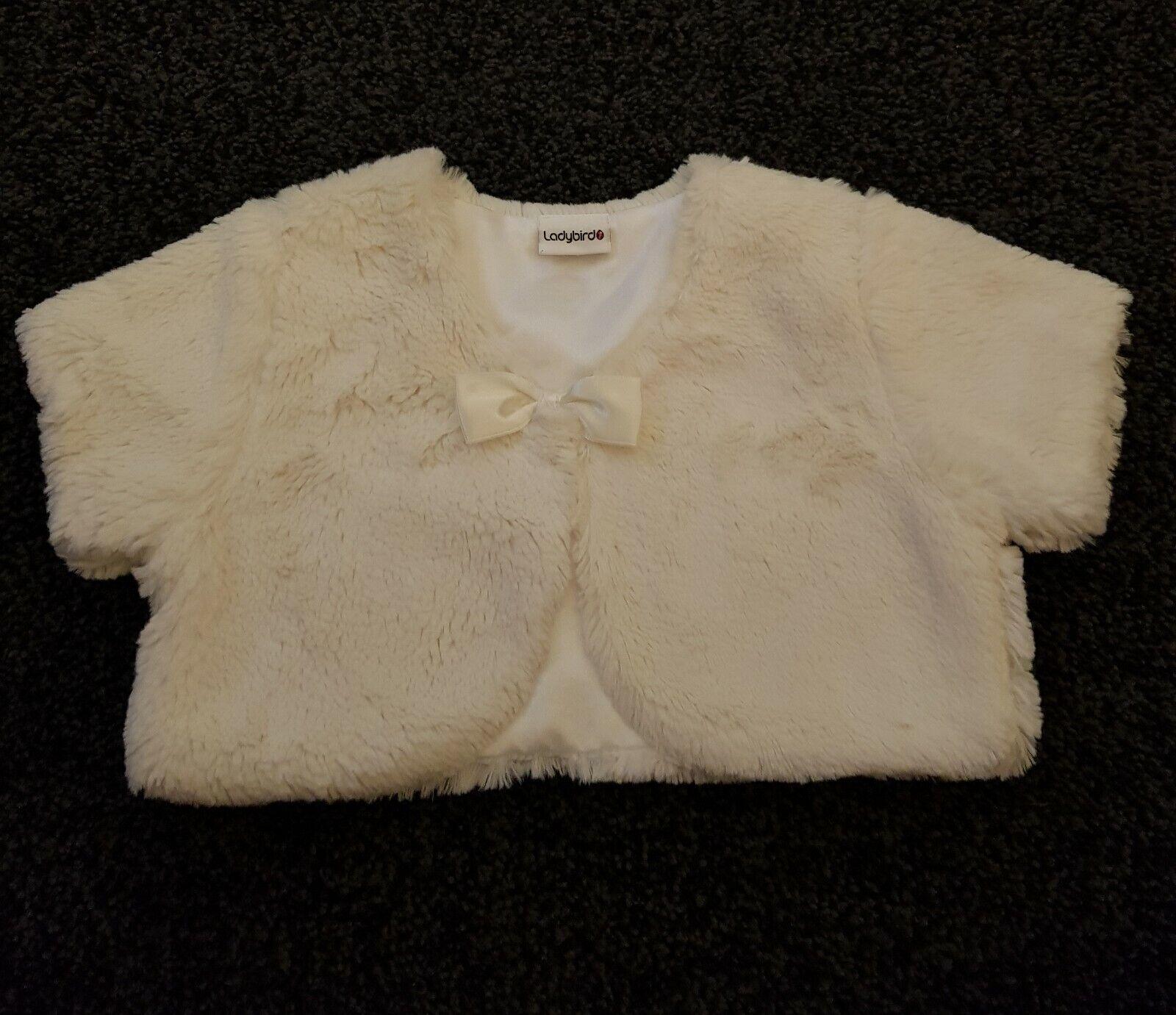 Girls Ladybird Cream/Ivory Faux Fur Bolero Size 18-24m