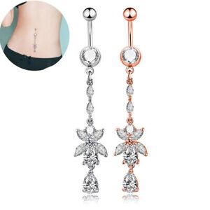 Rhinestone-Body-Piercing-Dangle-Crystal-Navel-Belly-Button-Bar-Barbell-Rings-BH