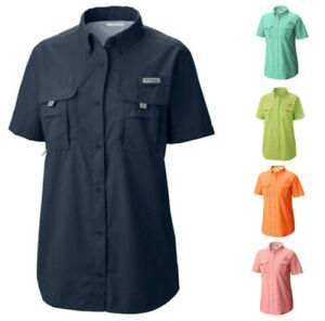 NEW-COLUMBIA-Women-039-s-Bahama-Short-Sleeve-Vented-Fishing-Shirt-UPF-30