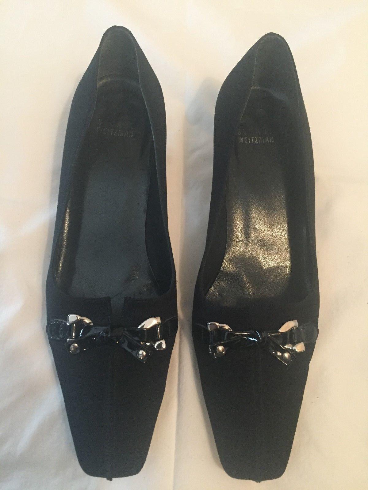Stuart Weitzhomme Tissu Noir Chaton Talon Escarpins Chaussures Avec Noeud Sz 8 m
