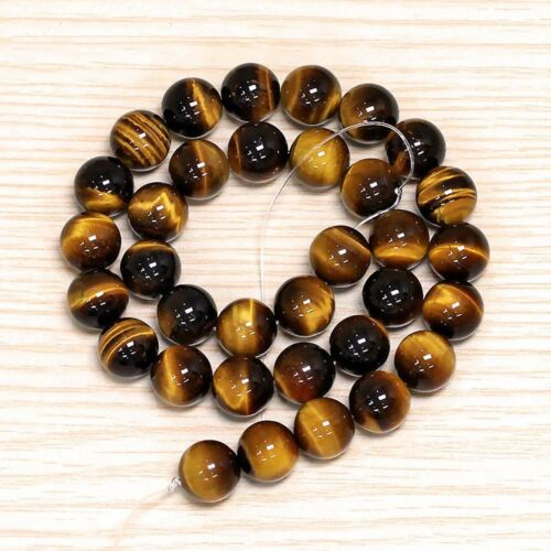 """Natural 6//8//10//12//14mm Tiger/'s Eye Gemstone Round Loose Spacer Beads 15/"""" AAA"""
