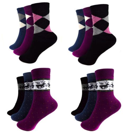 35-42 A.135 6 Paar Mädchen Thermo Socken Warme Damen Strümpfe 85/% Baumwolle Gr