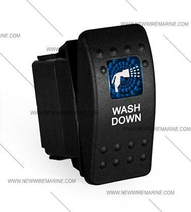 lighted Labeled Marine Contura II Rocker Switch Carling Washdown-Blue lens