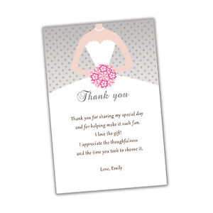 30 bridal shower thank you cards pink grey dress flowers