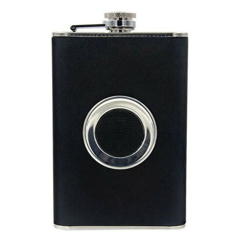 Stainless Steel Hip Flask PU Leather Shot Wine Bottle With TeleScope Cup Funnel