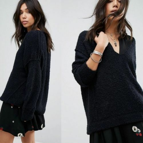 Nwt Free People Lofty Soft Boucle Chunky Oversized V Neck Sweater