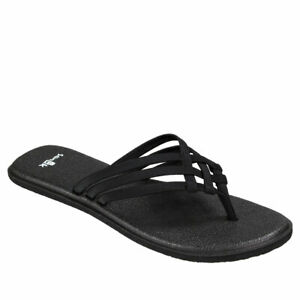 SANUK-WOMEN-039-S-SANDALS-YOGA-MAT-SALTY-FLIP-FLOPS-SLIP-ON-BLACK-M1016005