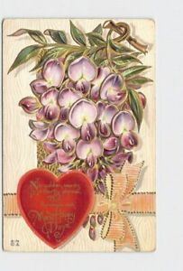 ANTIQUE-POSTCARD-VALENTINE-HEART-FLOWERS-PINK-RIBBON-GOLD-EMBOSSED