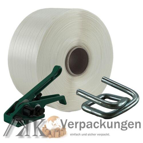 13 mm Textil Polyester Umreifung Set Umreifungsband Bandspanner Metallklemmen