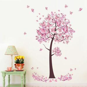 Kinder-Schmetterlinge-Baum-Wandtattoo-Wandsticker-Wandaufkleber-Deko-Sticker