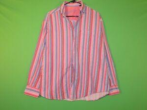 Bugatchi Uomo Men's Size M Medium Pink Striped Pocket Long Slv Button Shirt