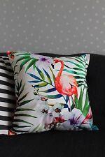 Cubierta Cojín Blanco Tropical Flamenco. hojas, aves, Terciopelo, Lujo, botánico