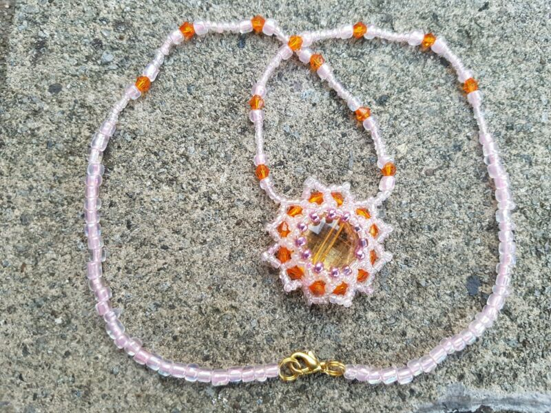 "Necklace Handmade Beaded 18"" Pink/orange"