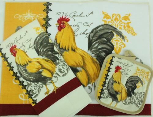YELLOW ROOSTER by AM 1 Towel 3 pc Set: Microfiber Drying Mat 1 Pot Holder
