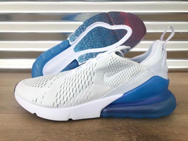 Nike Air Max 270 Running Shoes White Metallic Silver Blue Red Sz Aq7982 100