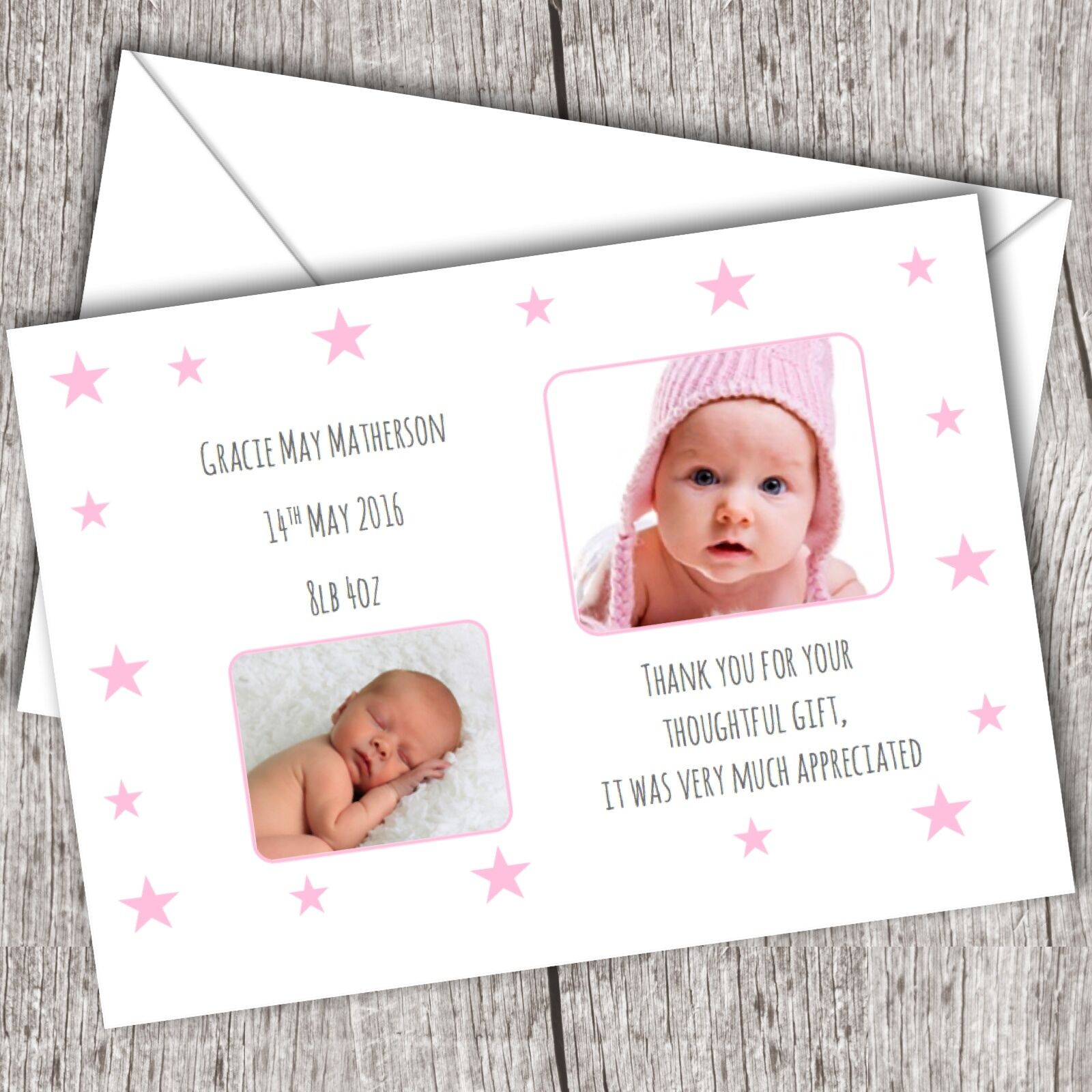Personalised PHOTO Thank You Cards  Announcement Christening  Baby Girl D18