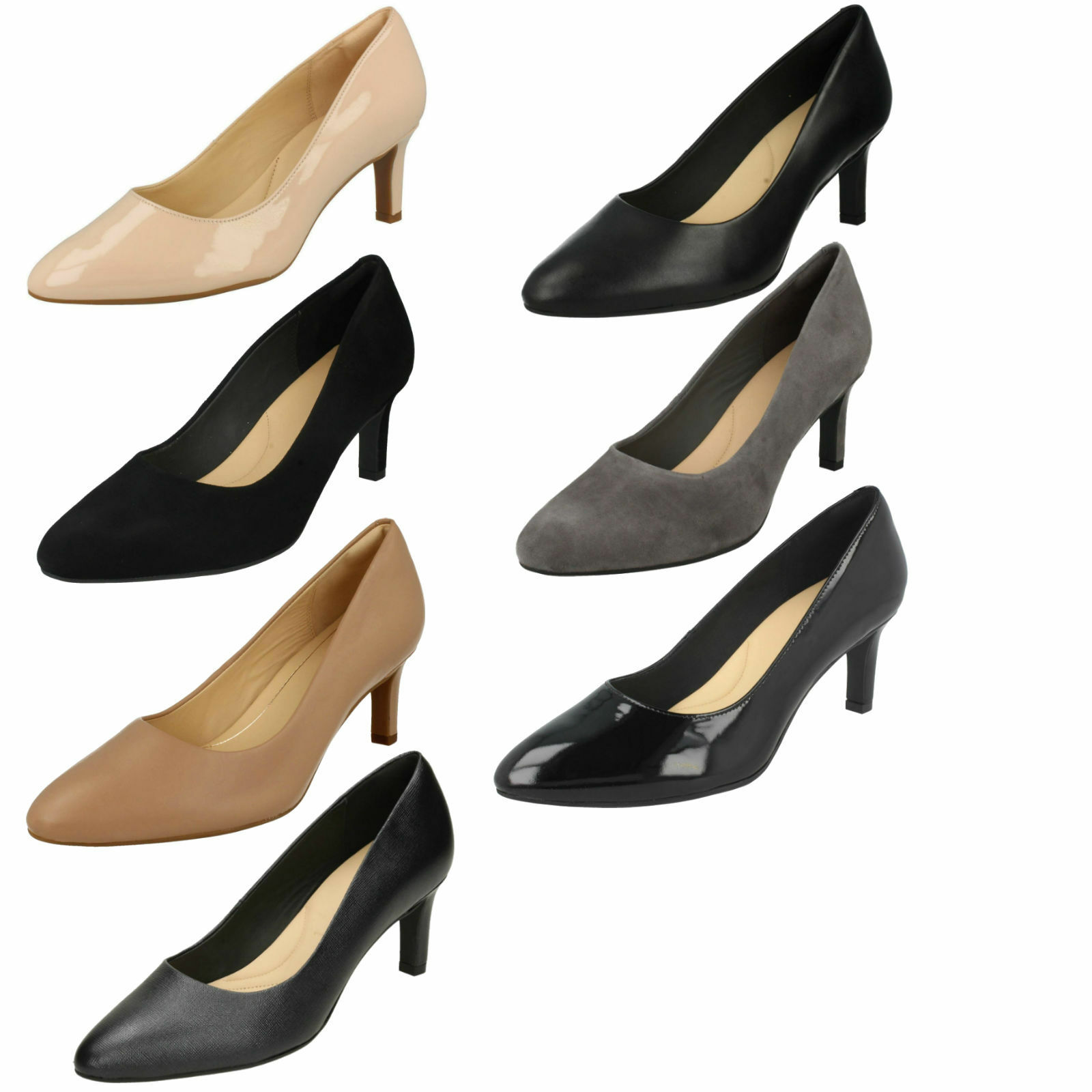 LADIES CLARKS LEATHER POINTED TOE SMART SLIP ON COURT chaussures SANDALS CALLA ROSE