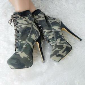 New-Women-Camouglage-High-Heel-Lace-Up-Shoes-Riding-Knight-Ankle-Boots-Plus-Size