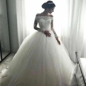 Image Is Loading Long Sleeve Lace Ball Gown Wedding Dress White