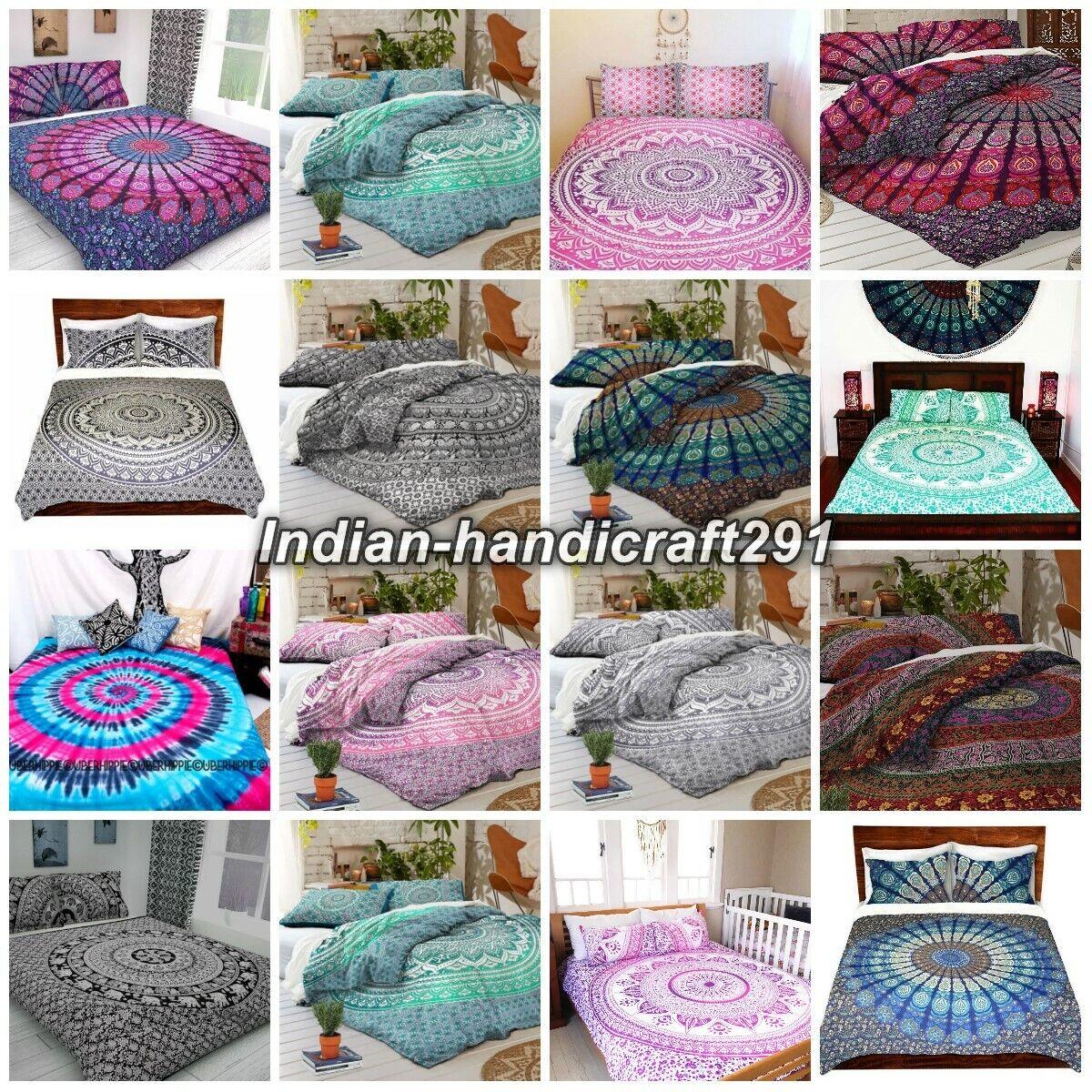 Mandala Indian Duvet Doona Quilt Cover Set Queen Single Handmade Bedding Decor