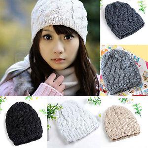 Fashion-Women-Braided-Knit-Crochet-Winter-Warm-Ski-Hat-Baggy-Beanie-Cap-For-Free