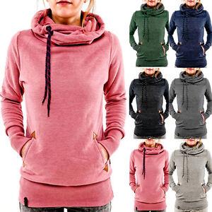 da11ae78e76 Image is loading Women-Pocket-Hoody-Hoodie-Long-Sleeve-Hooded-Sweatshirt-