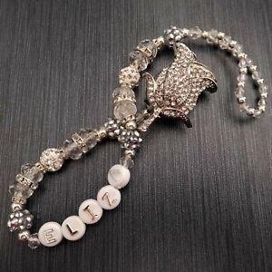Diamante Clip Pink//Silver* Crystal Shamballa Romany Dummy Clip Girl *Any Name