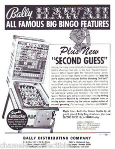Bally-HAWAII-Original-1973-NOS-Bingo-Game-Pinball-Machine-Promo-Sales-Flyer-Adv