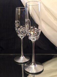 Image Is Loading Toasting Flutes Rhinestone Crystal Silver Wedding Champagne Gles
