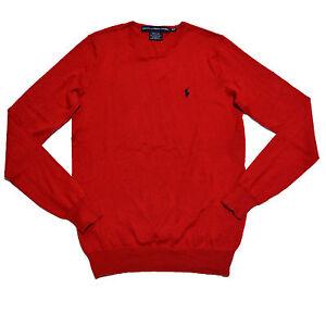 Crewneck Dame Ralph Rød M Sweater Pullover Lauren 70 Pony Bomuld Sz Silke Polo wtqXtF
