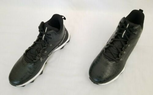 Details about  /Youth Sz 8.5 Black White Under Armour Hammer Mid RM Football Cleats 3021198-002